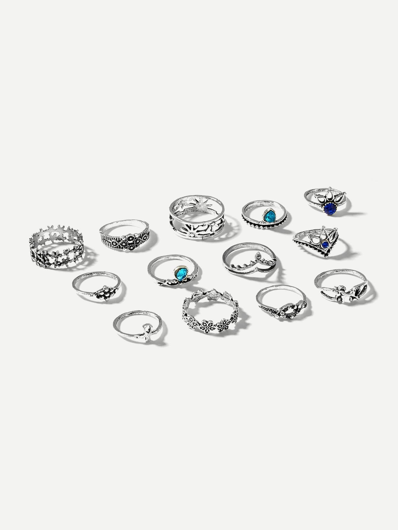 Flower Detail Ring Set 13Pcs - Rings