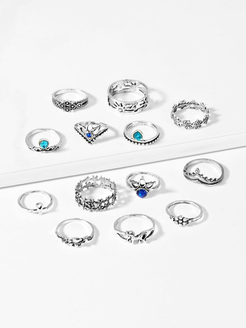Flower Detail Ring Set 13pcs