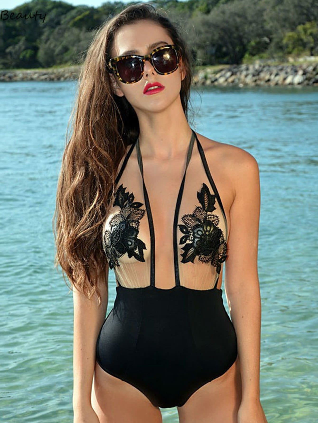 Flower Embroidery Halter Festival Mesh Swimsuit - One Piece Swimwear