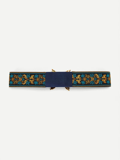Flower Embroidery Retro Belt - Belts