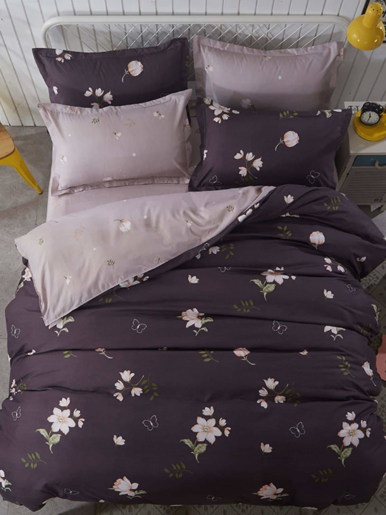 Flower Print Duvet Cover Set