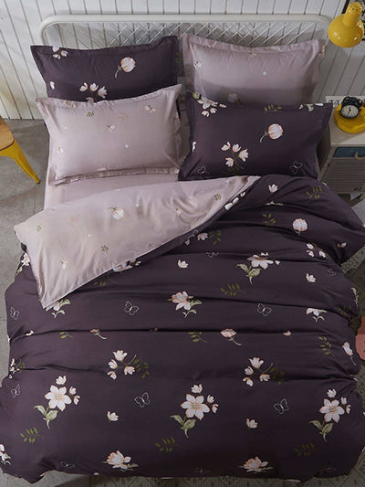 Flower Print Duvet Cover Set - Bedding Sets