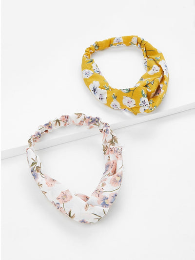 Flower Print Headband 2pcs - Hair Accessories