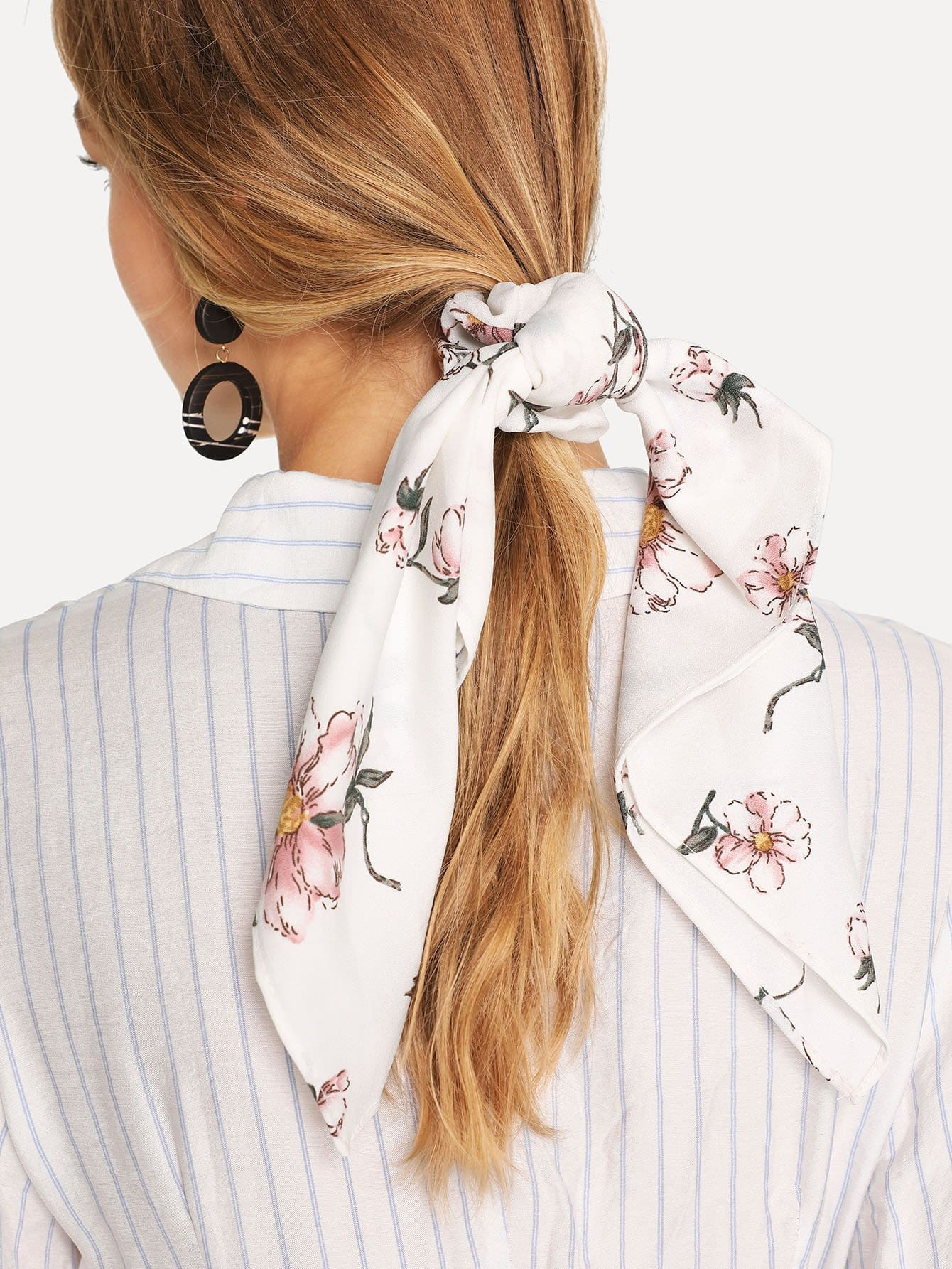Flower Print Knot Hair Tie