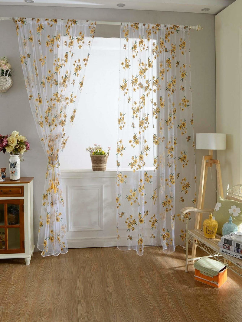 Flower Print Rod Pocket Sheer Curtain 1pc - Curtains