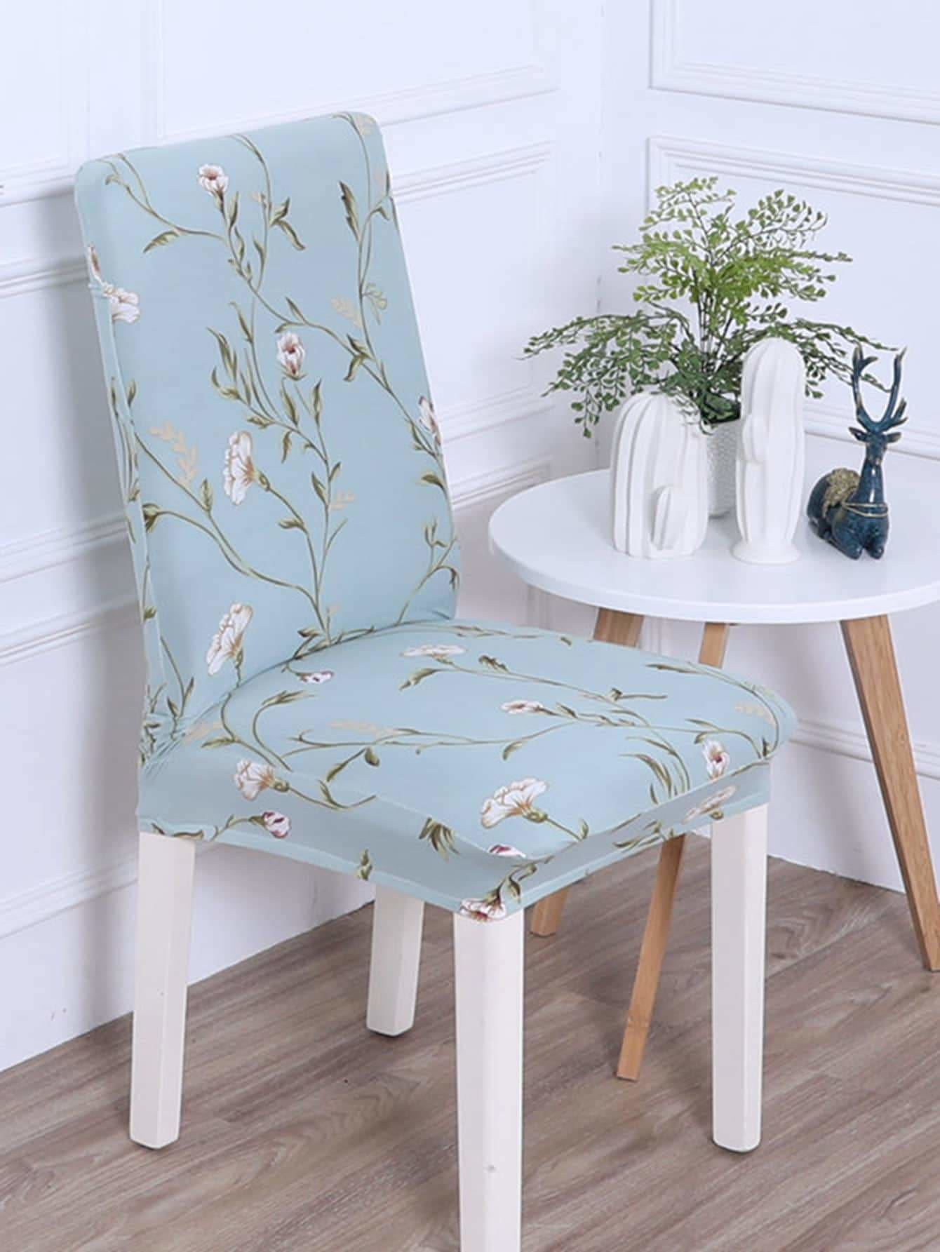 Flower Print Stretchy Chair Cover 1pc - Slipcovers & Linens