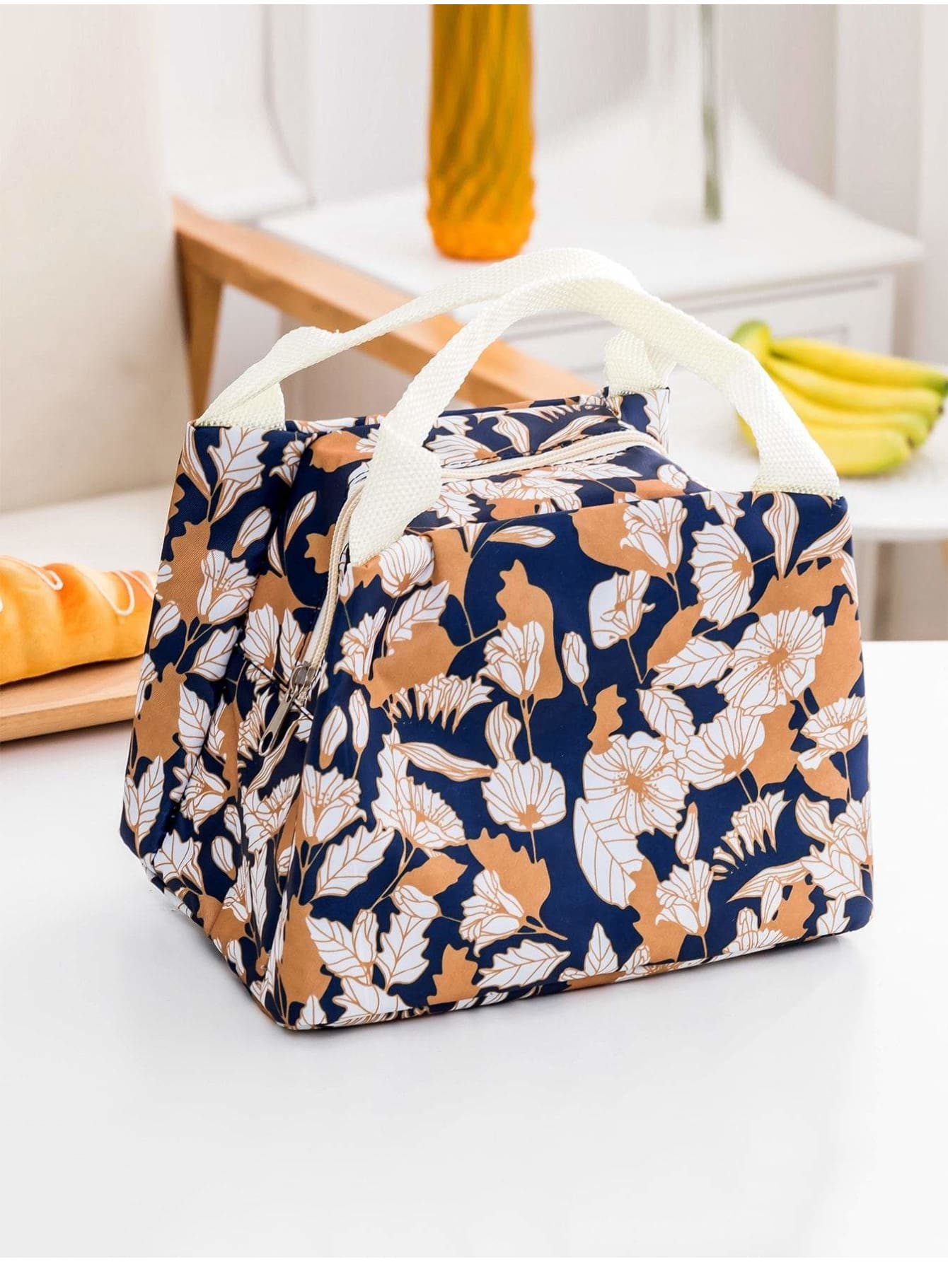 Flower Print Zipper Lunch Bag - Storage & Organization