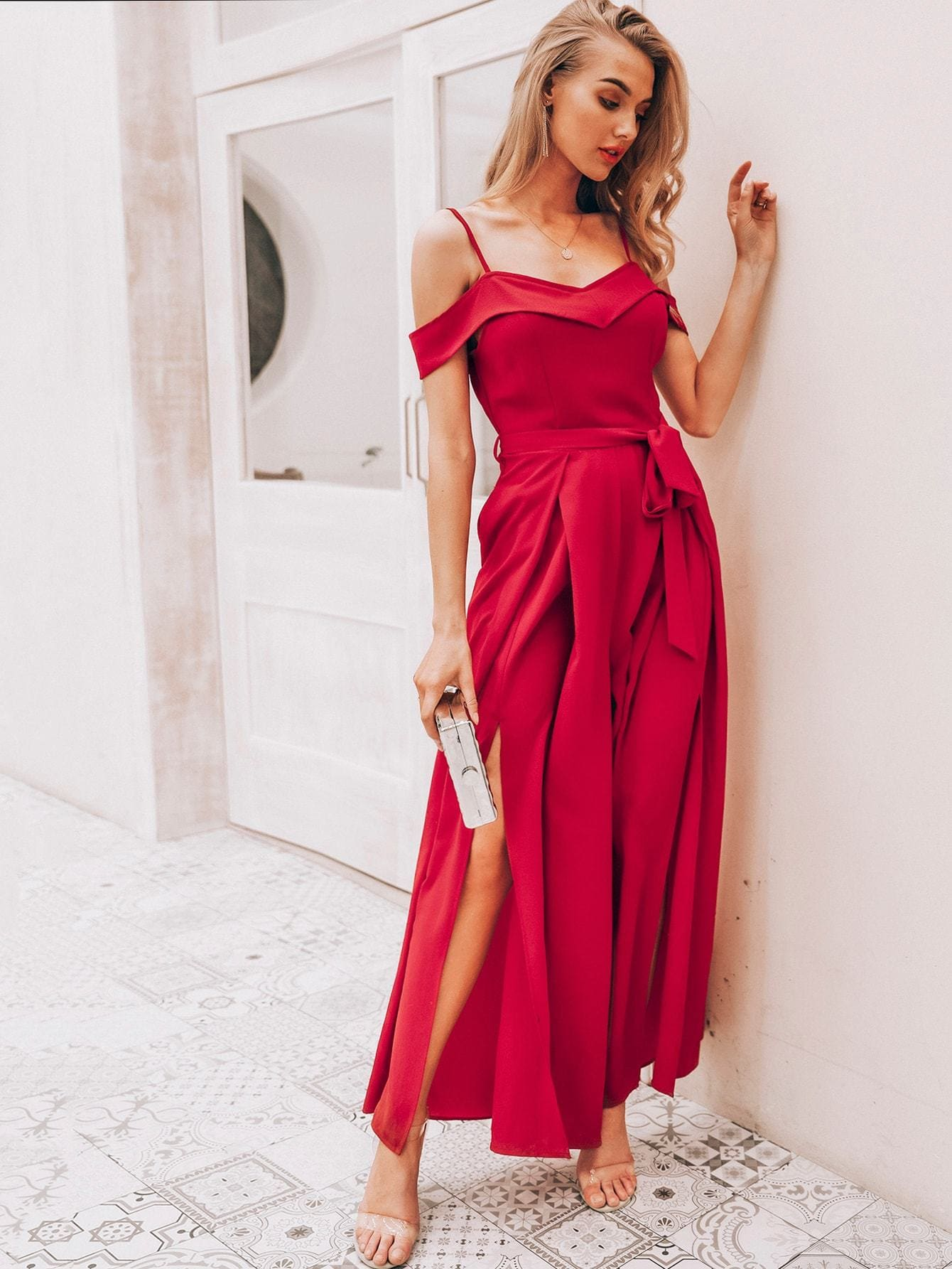 Foldover Front Pleated Wide Leg Belted Jumpsuit - M