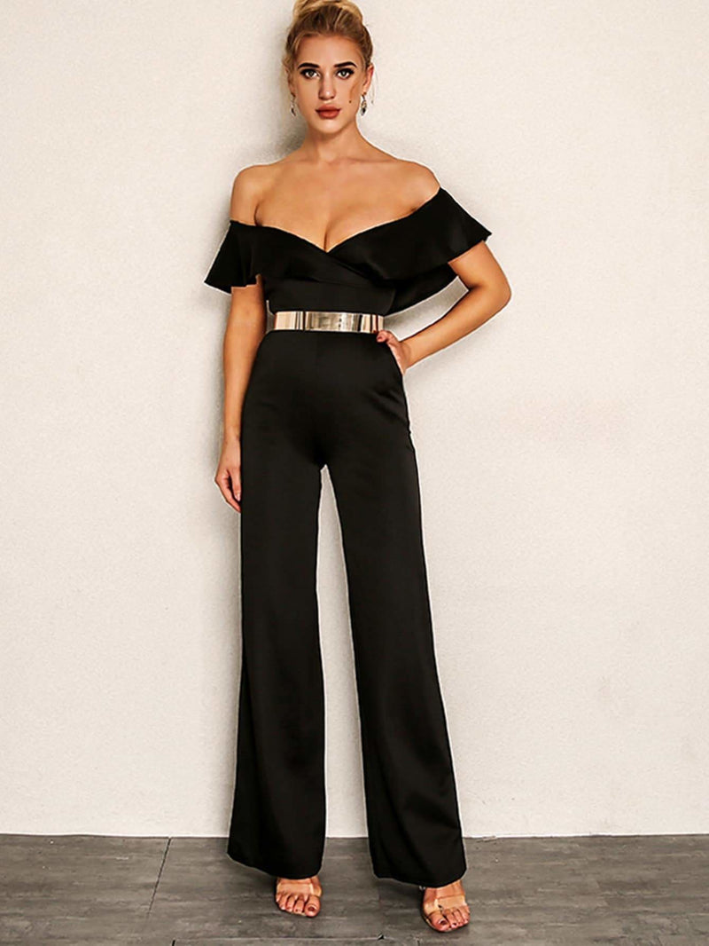 Foldover Palazzo Bardot Jumpsuit Without Metallic Belt - S - Womens Jumpsuits