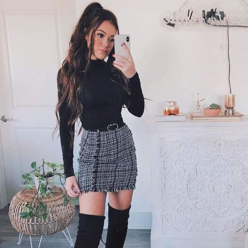 Frayed Trim Plaid Tweed Skirt - Black and White / XS - Skirts