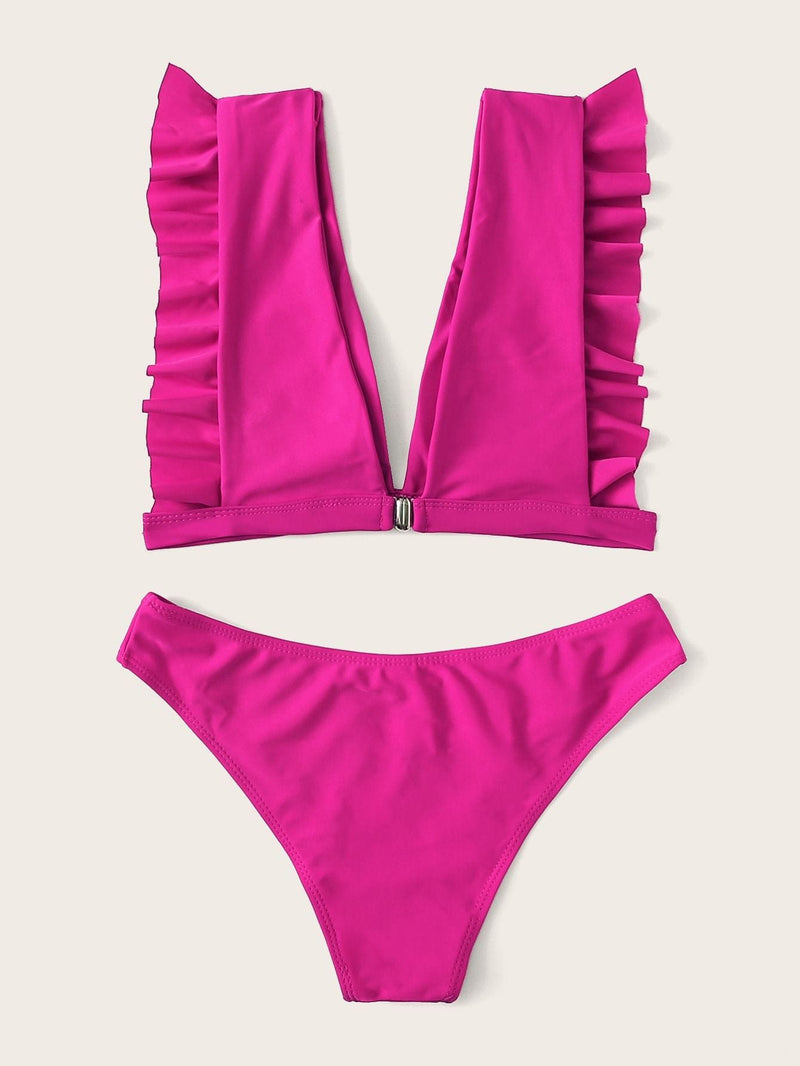 Frill Trim Top With Cheeky Bikini Set - S - Bikini