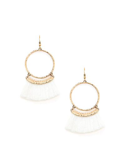 Fringe Tassel Hoop Drop Earrings - Earrings