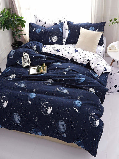 Galaxy Print Duvet Cover Set - Bedding Sets