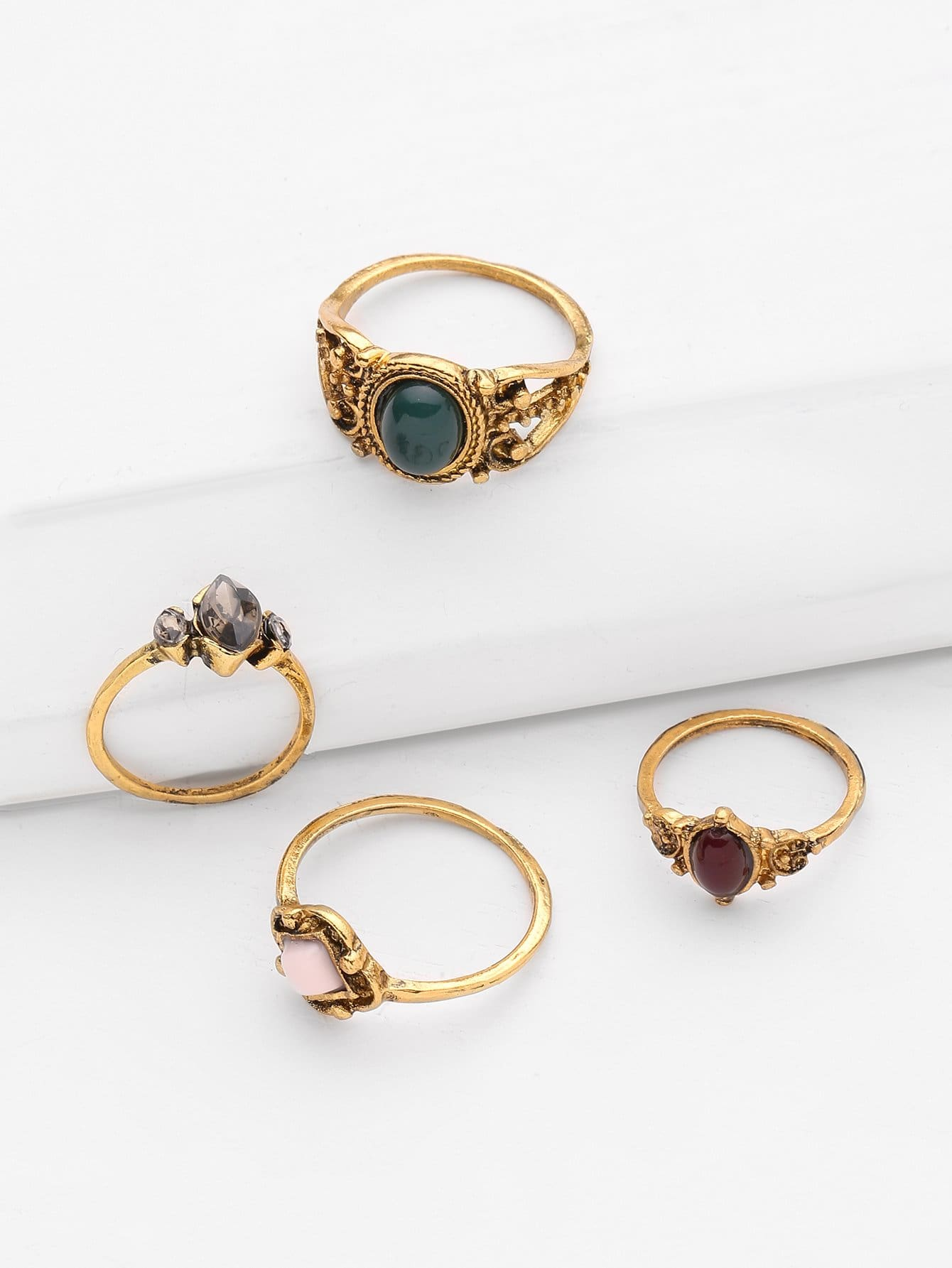 Gemstone Design Retro Ring Set 4pcs - Rings
