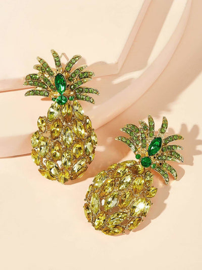 Gemstone Engraved Pineapple Shaped Earrings 1pair - Earrings