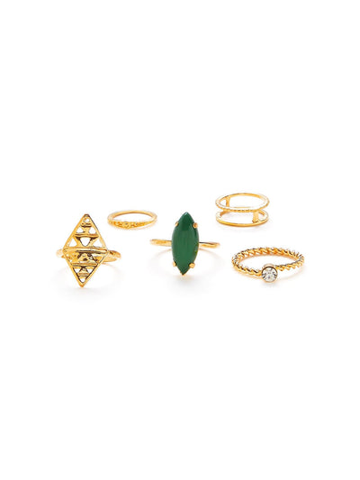 Gemstone Hollow Ring Set 5Pcs - Rings