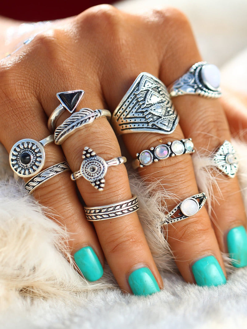 Geometric Design Ring Set 10Pcs - Rings