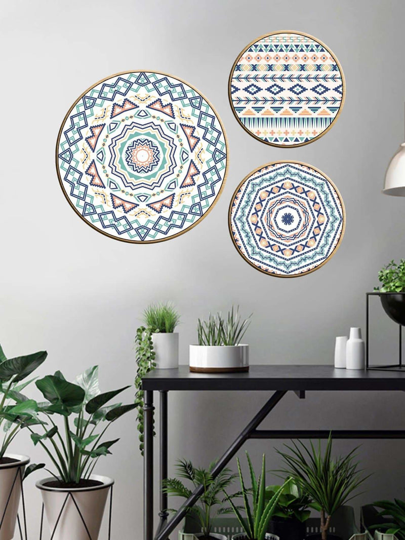 Geometric Pattern Round Cloth Wall Art 3Pcs - Wall Art