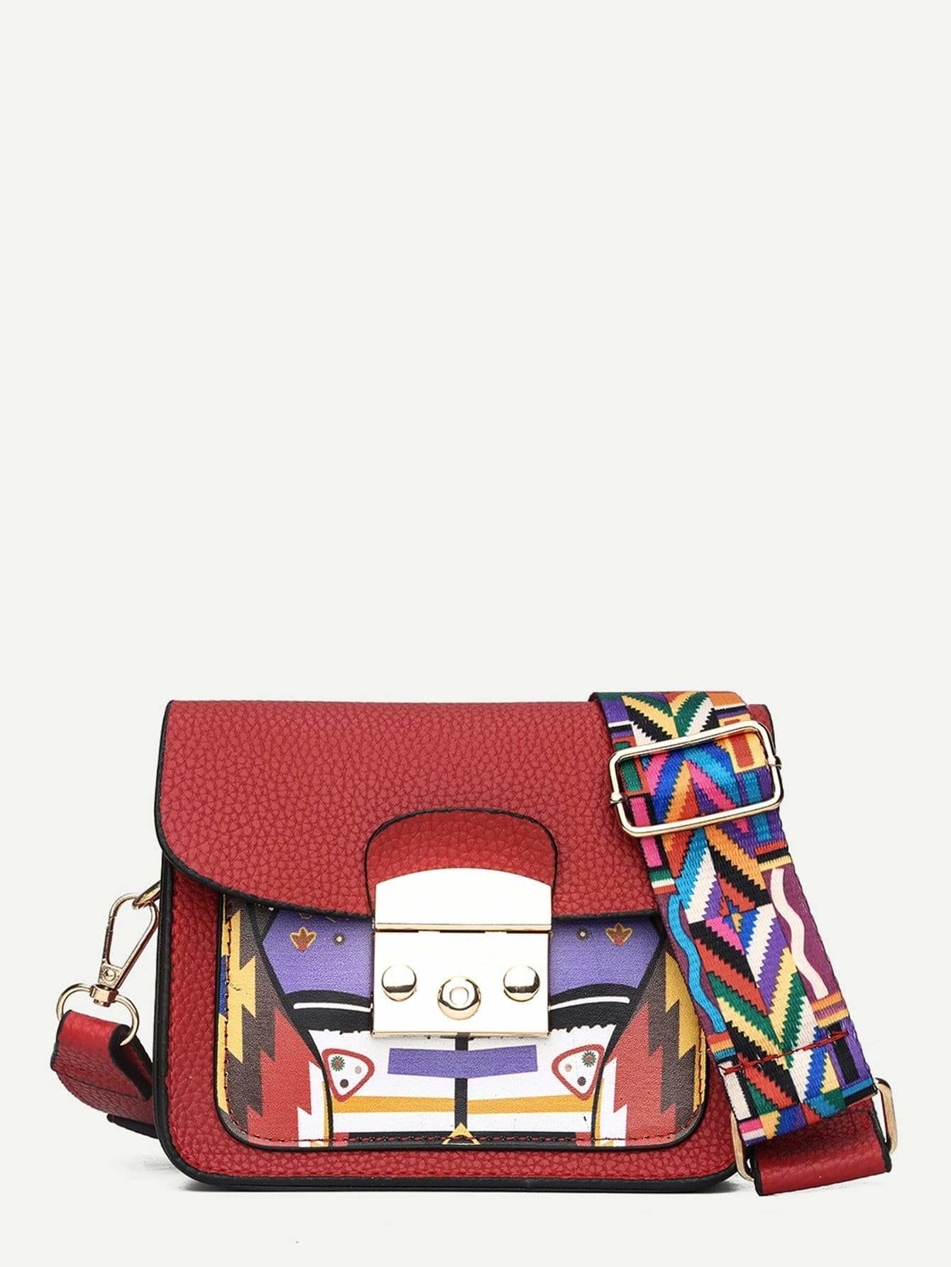 Geometric Print Crossbody Bag - Womens Bag