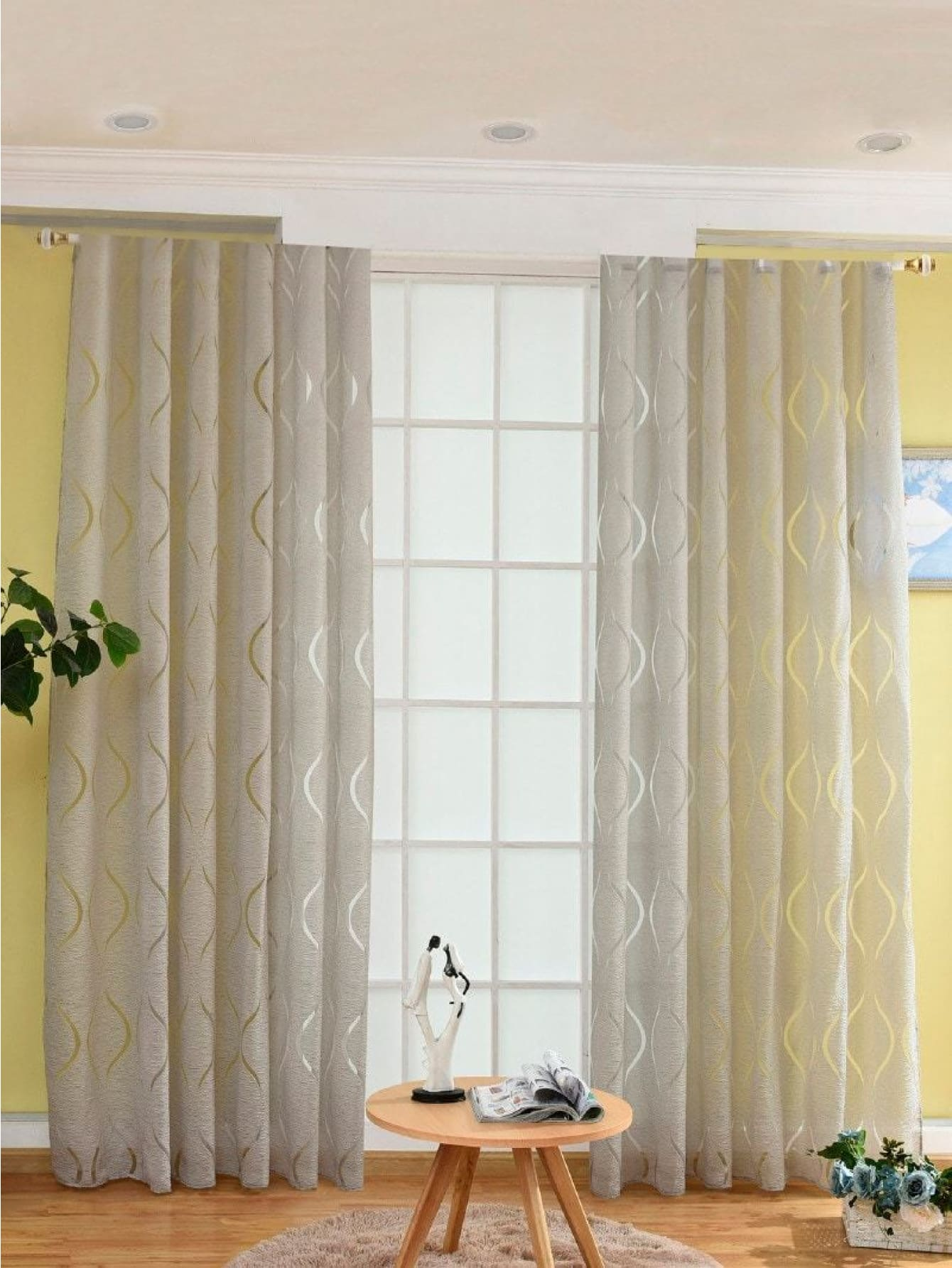 Geometric Print Eyelet Sheer Curtain 1pc