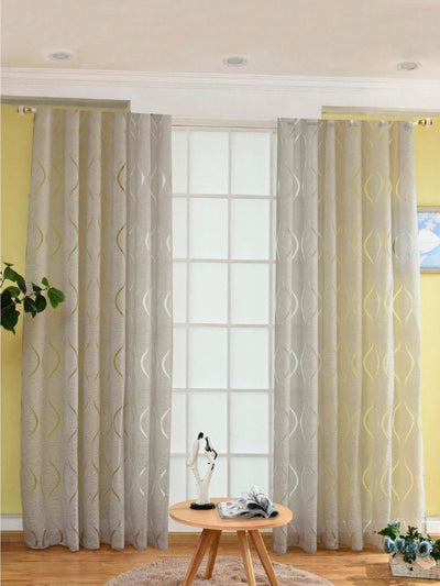 Geometric Print Eyelet Sheer Curtain 1pc - Curtains
