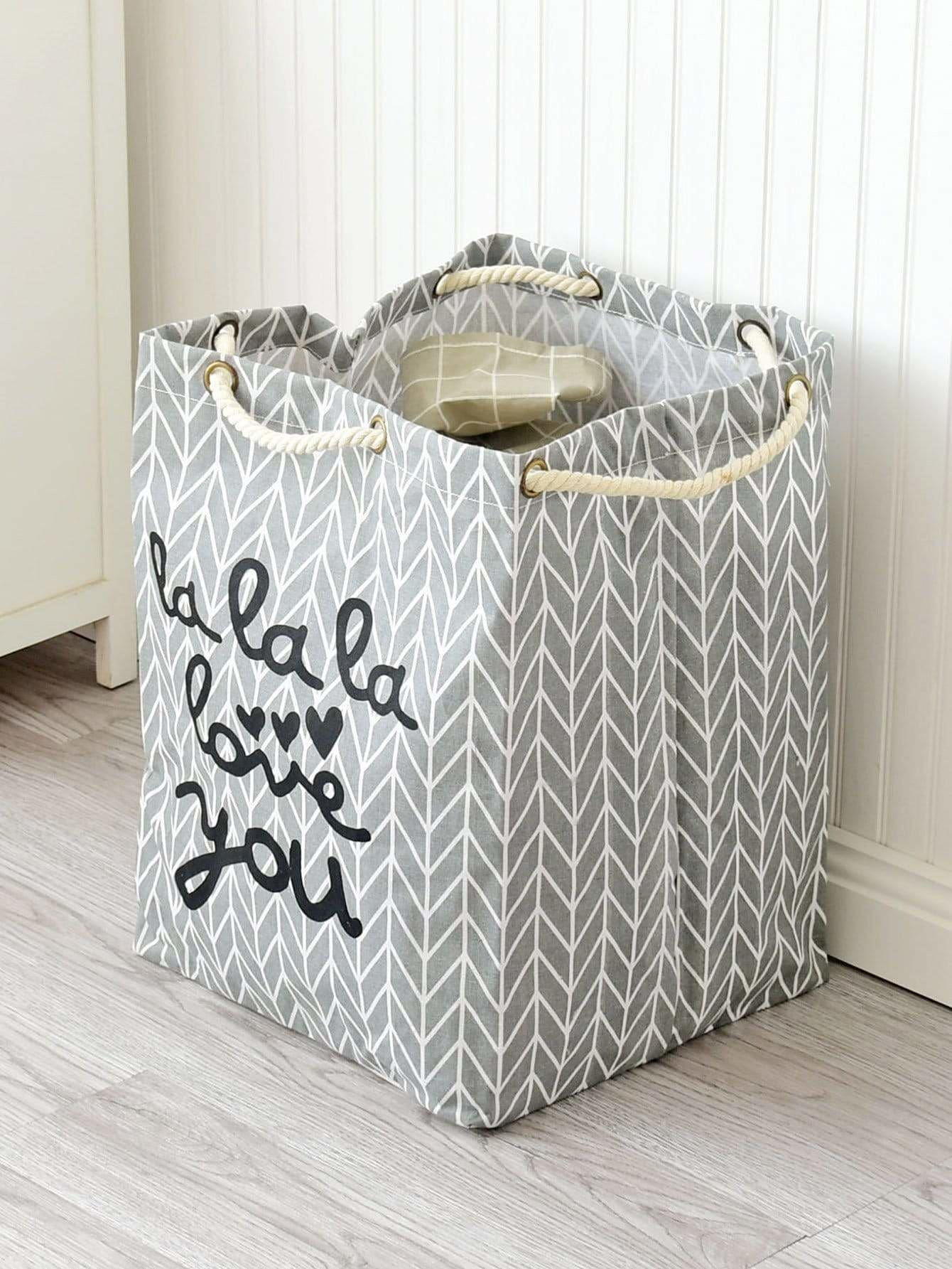 Geometric Print Square Laundry Hamper - Storage & Organization