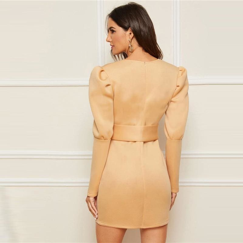 Gigot Sleeve Self Belted Wrap V neck Going Out Mini Dress - Beige / S - Dresses