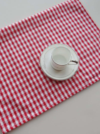 Gingham Pattern Napkin - One-Size / Red - Kitchen & Table Linens