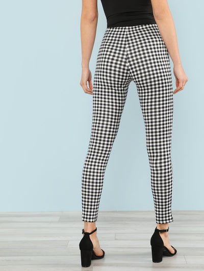 Gingham Print Skinny Leggings - Leggings