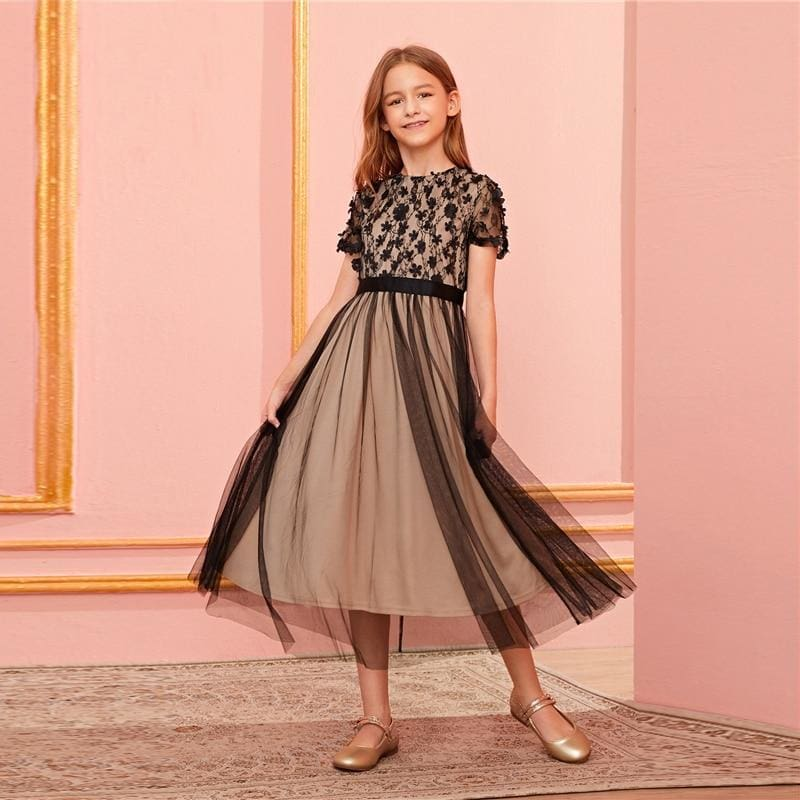 Girls Appliques Mesh Sheer Contrast Lace Dress - Multi / 10T - Girl Dresses