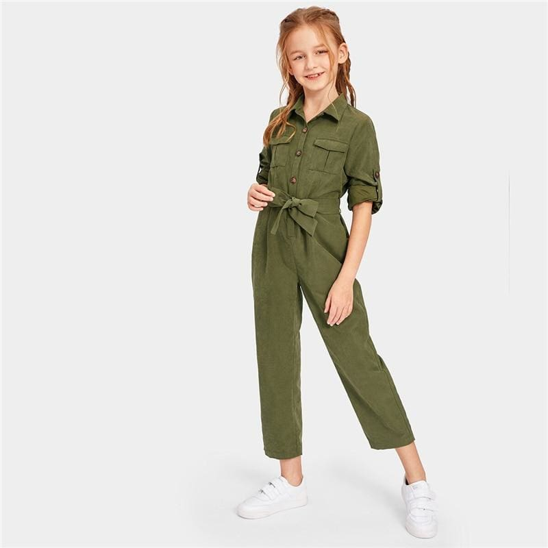 Girls Army Green Button And Pocket Front Belted Jumpsuit - Army Green / 6T - Girl Romper