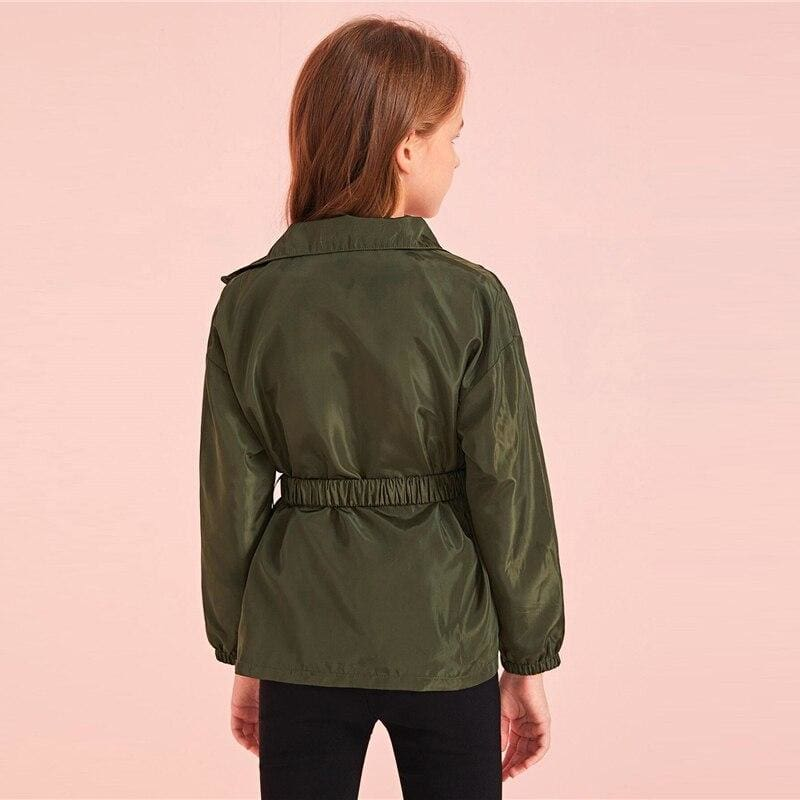 Girls Army Green Flap Pocket Zipper Front Wind Jacket - Army Green / 8T - Girl Coat