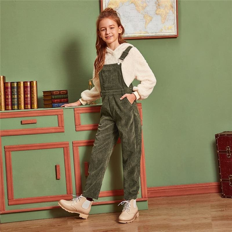 Girls Army Green Pocket Front Preppy Pinafore Jumpsuit - Girl Romper