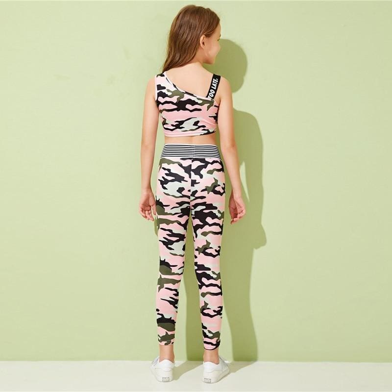 Girls Asymmetrical Neck Letter Tape Top And Camouflage Leggings Sets - Multi / 12T - Girl Suit Set
