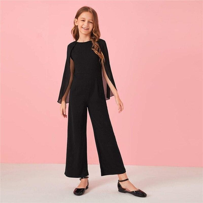 Girls Black Solid Cloak Sleeve Jumpsuit - Black / 8T - Girl Romper