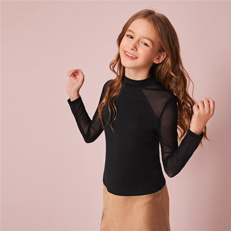 Girls Black Stand Collar Sheer T-Shirt - Black / 12T - Girl T-Shirt