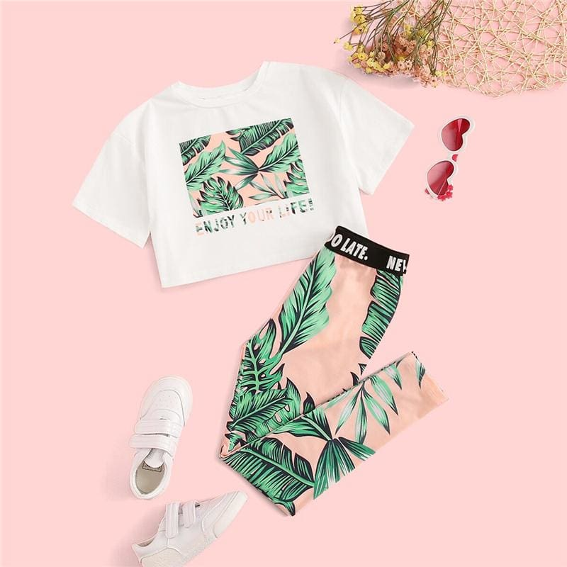 Girls Boho Letter And Plants Print Tee With Leggings - Multi / 12T - Girl Suit Set