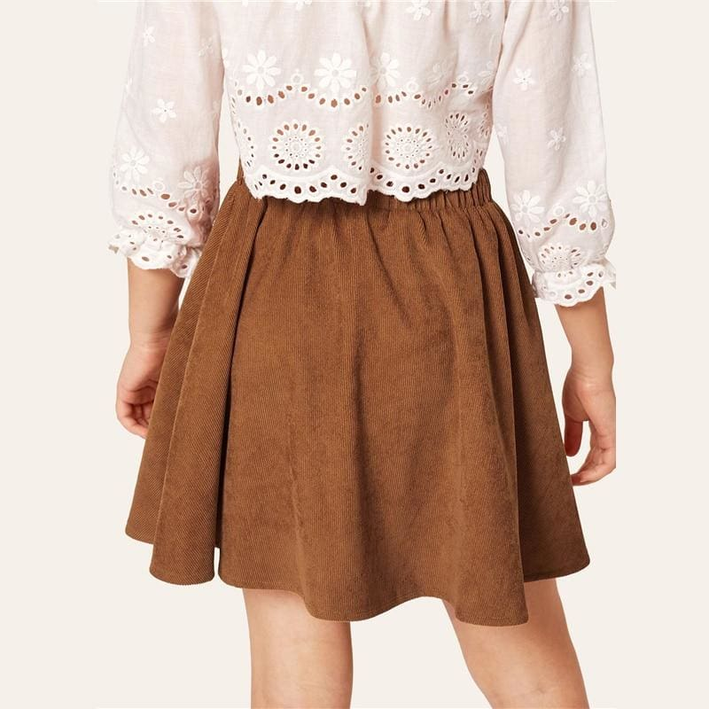 Girls Brown Solid Button Front Skirt - Brown / 6T - Girl Skirt
