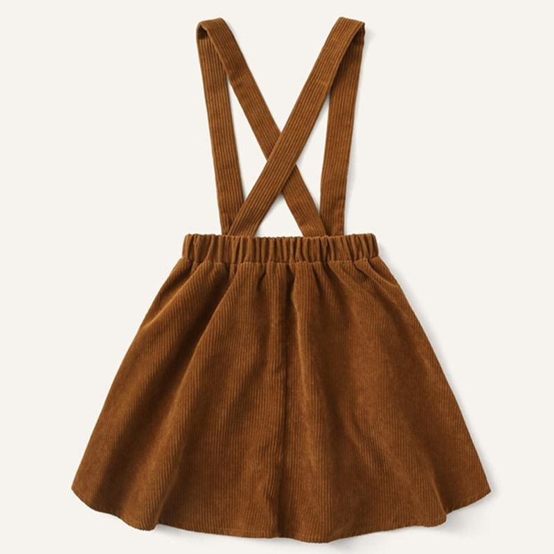 Girls Button Front Corduroy Pinafore Preppy Skirt - Brown / 9T - Girl Skirt