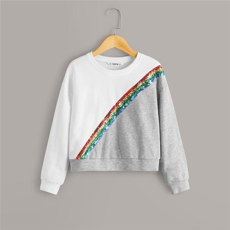Girls Contrast Sequin Two Tone Sweatshirt - Multi / 12T - Girl Sweatshirt