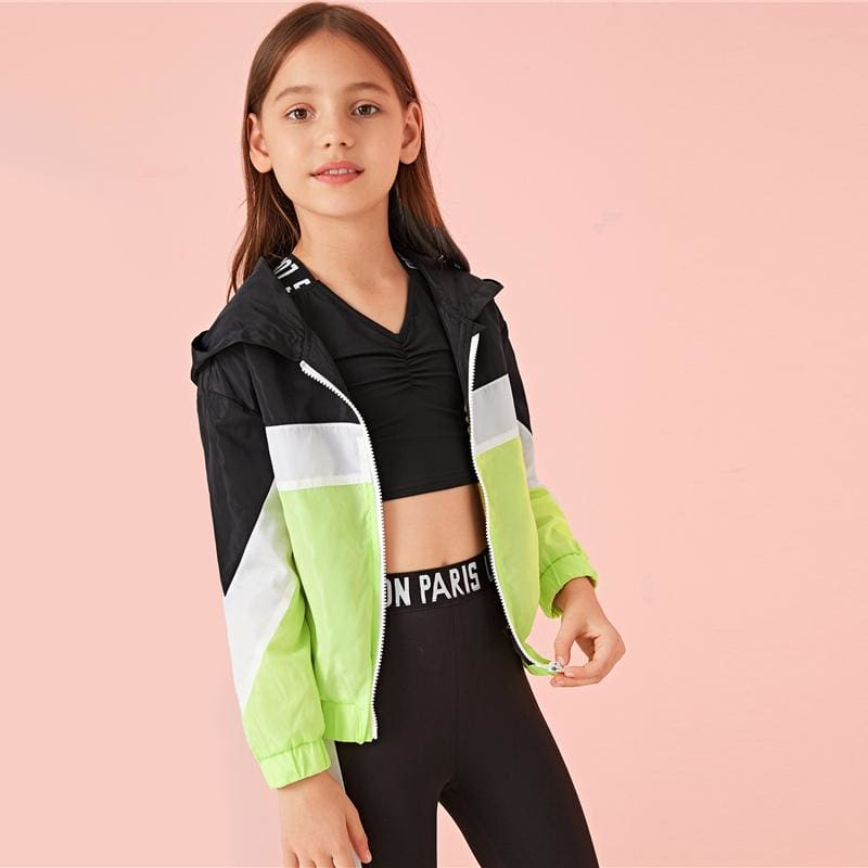 Girls Cut-And-Sew Zipper Front Hooded Jacket - Multi / 12T - Girl Coat