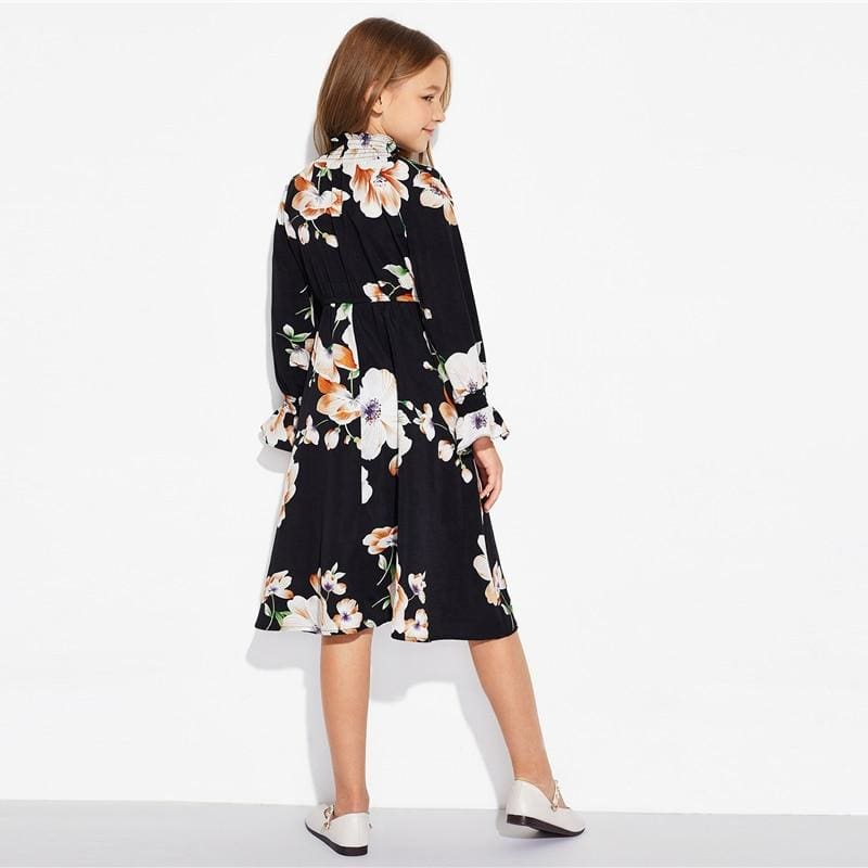 Girls Floral Print Stand Collar Elegant Dress - Black / 8T - Girl Dresses