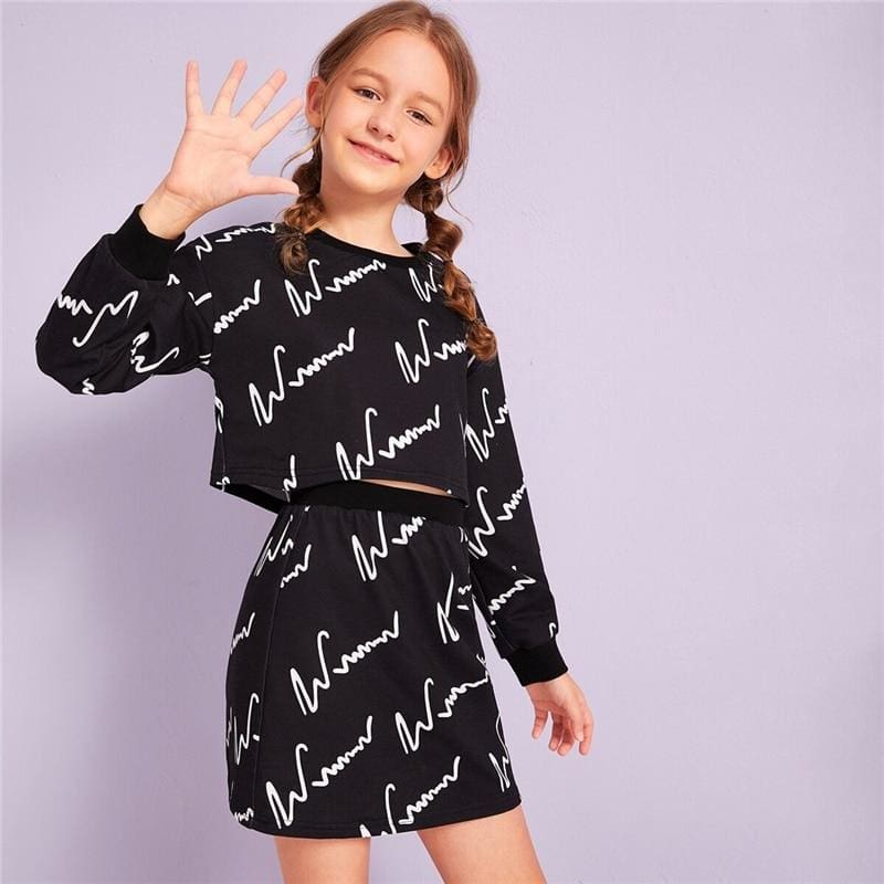 Girls Graphic Print Sweatshirt And Skirt Two Piece Sets - Black / 9T - Girl Suit Set