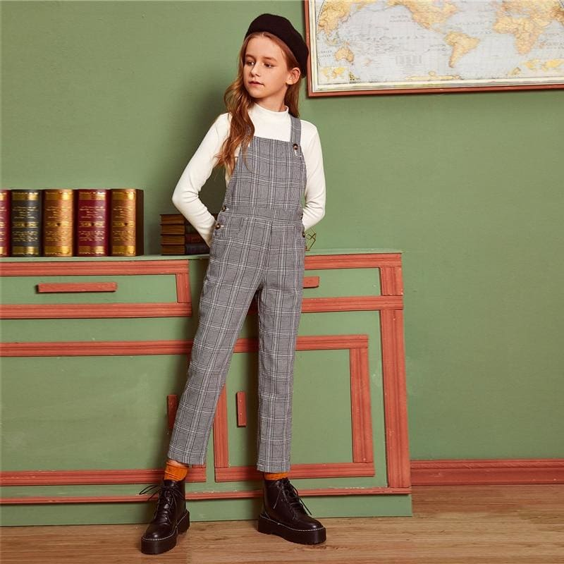 Girls Grey Plaid Button Side Preppy Straps Jumpsuit - Gray / 8T - Girl Romper