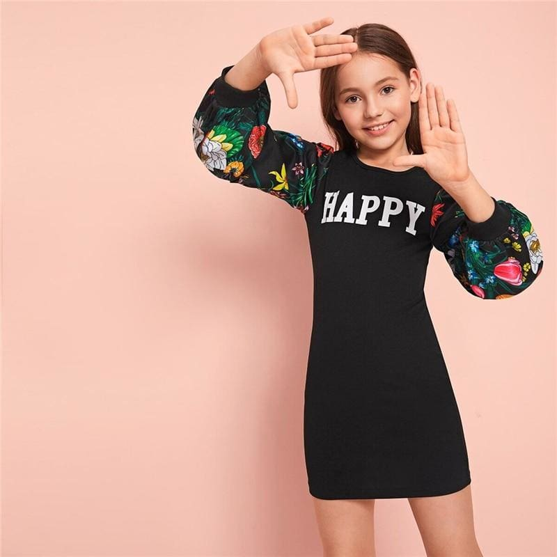 Girls Letter Graphic Floral Print Tee Dress - Black / 7T - Girl Dresses