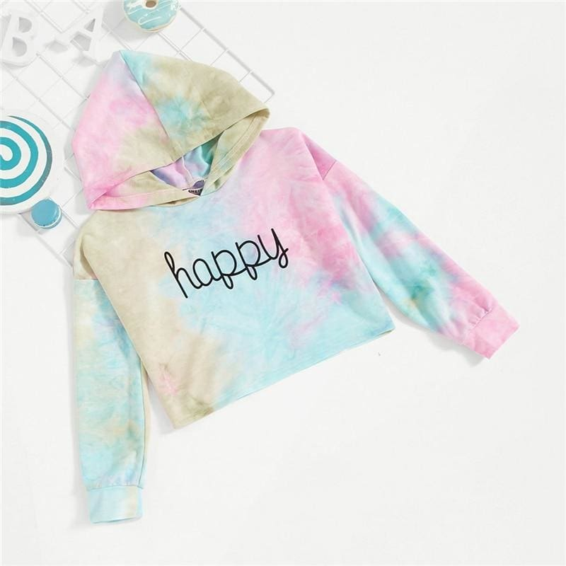 Girls Letter Happy Print Tie Dye Cute Hoodies - Multi / 6T - Girl Sweatshirt