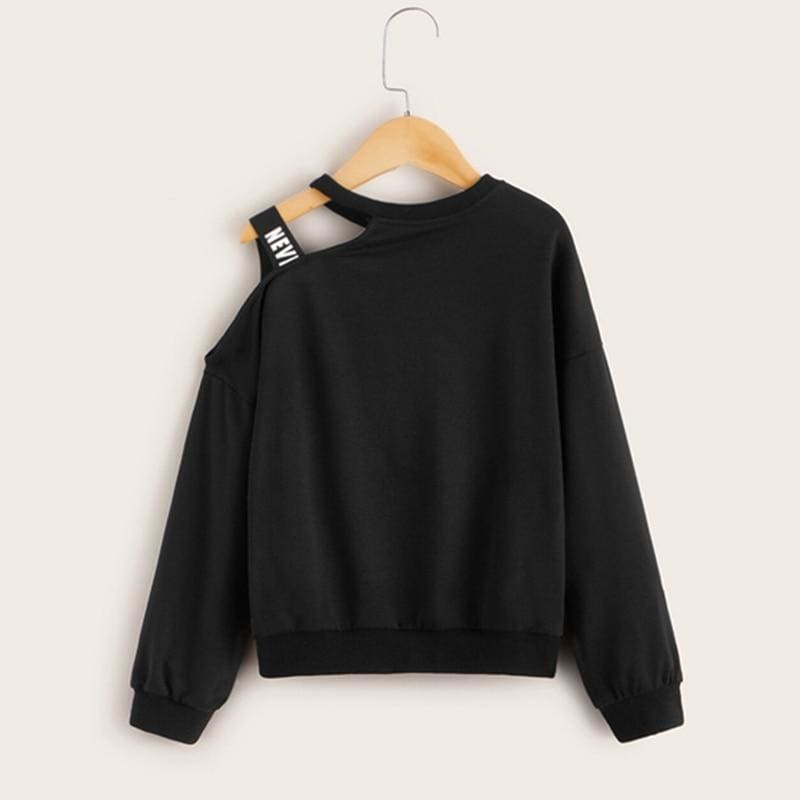 Girls Letter Print Cold One Shoulder Pullover With Strap - Black / 7T - Girl T-Shirt