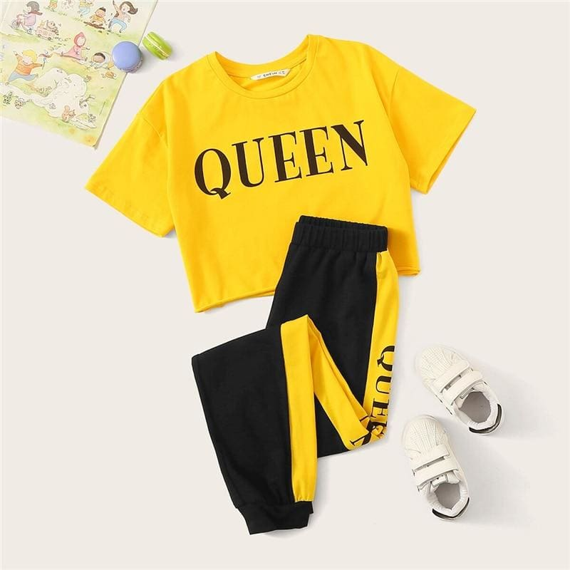Girls Letter Print Tee And Contrast Side Sweatpants - Multi / 12T - Girl Suit Set