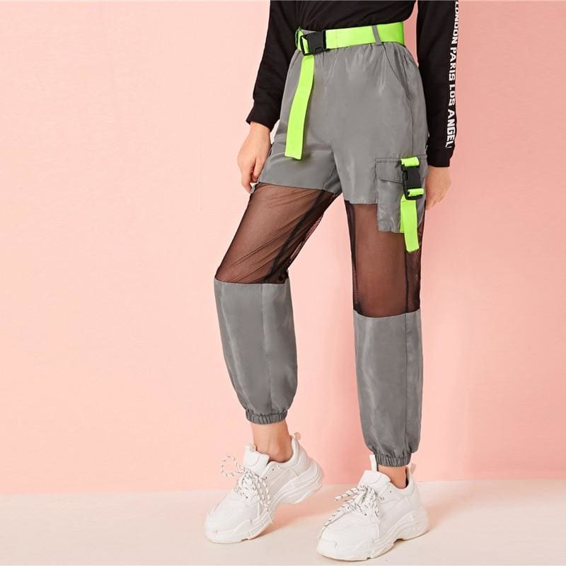Girls Neon Buckle Mesh Wind Belted Cargo Pants - Gray / 6T - Girl Pants