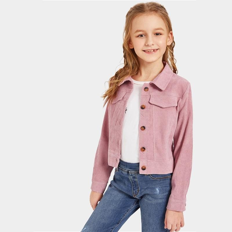 Girls Pink Single Breasted Button Front Jacket - Pink / 10T - Girl Coat